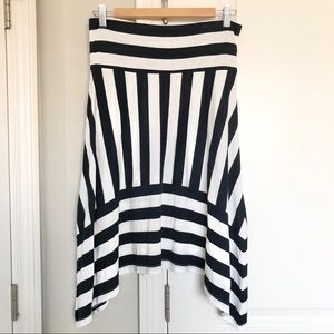 NWT Gap Blue White Stripe Asymmetrical Knit Skirt